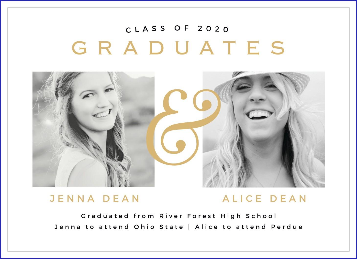 High School Graduation Invitations For Twins