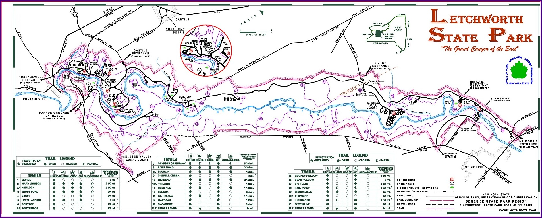 Hiking Letchworth State Park Map