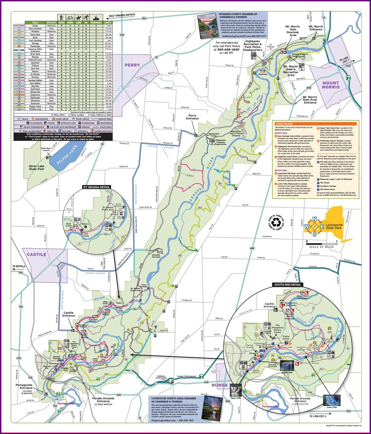 Hiking Letchworth State Park Trail Map