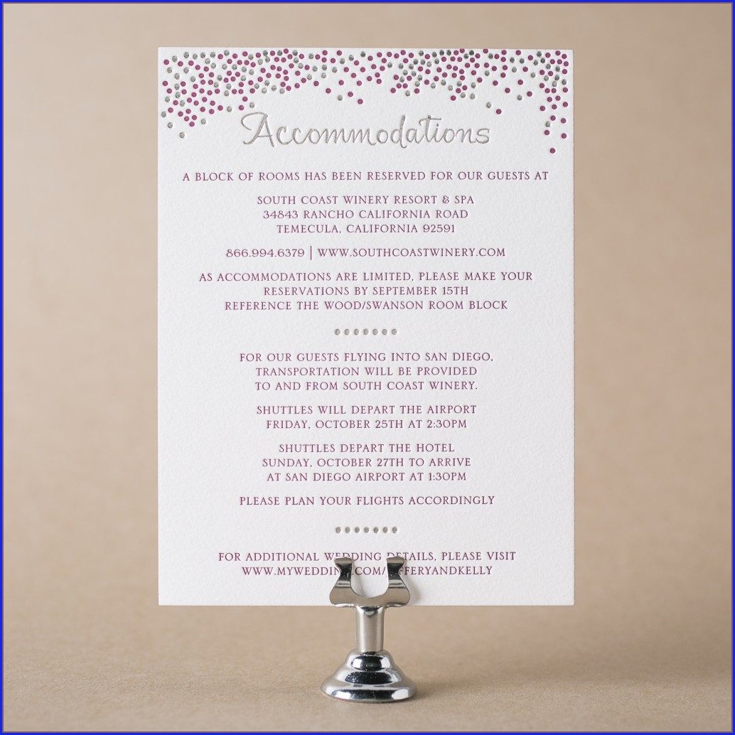 Hotel Accommodations Wording For Wedding Invitations