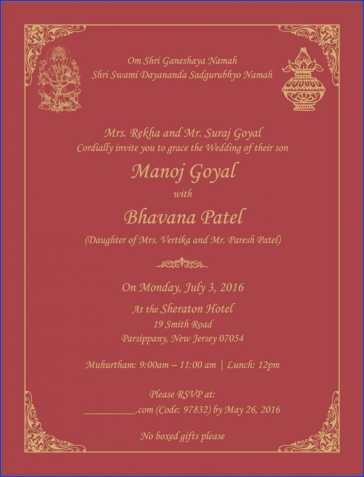 Indian Wedding Reception Invitation Wording Samples