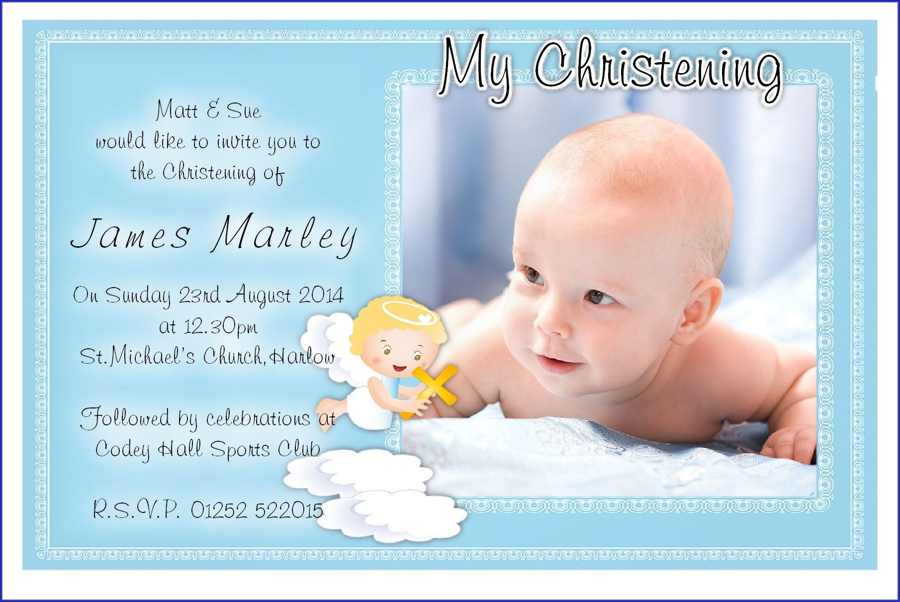 Invitation Card For Christening Baby Boy Layout