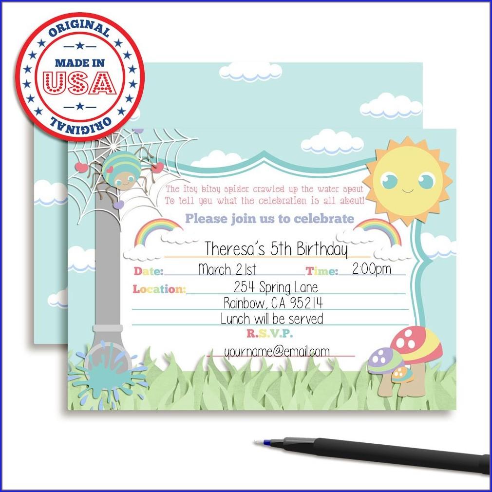 Itsy Bitsy Spider Birthday Invitations