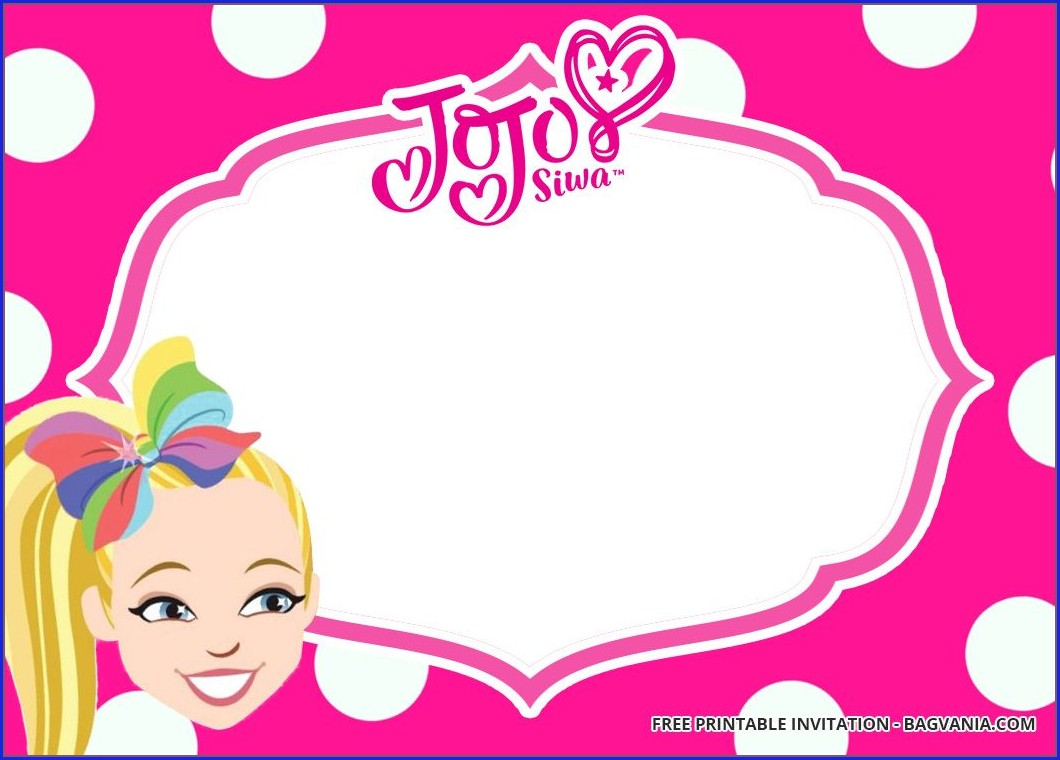 Jojo Siwa Blank Birthday Invitations