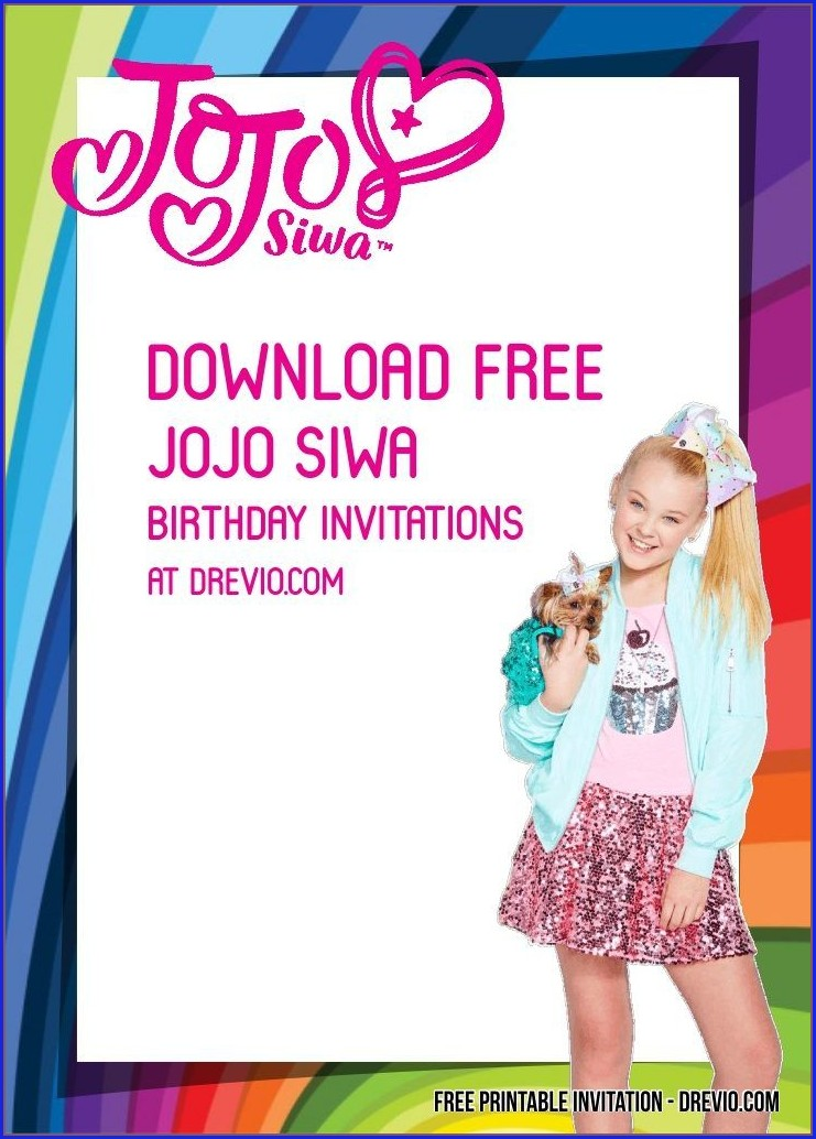Jojo Siwa Party Invitations Free