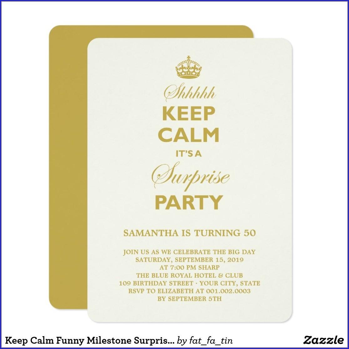 Keep Calm Birthday Invitations