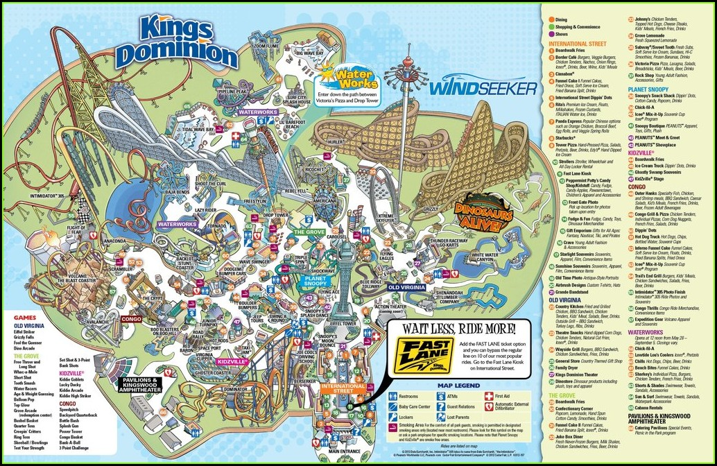 Kings Dominion Map Of Park