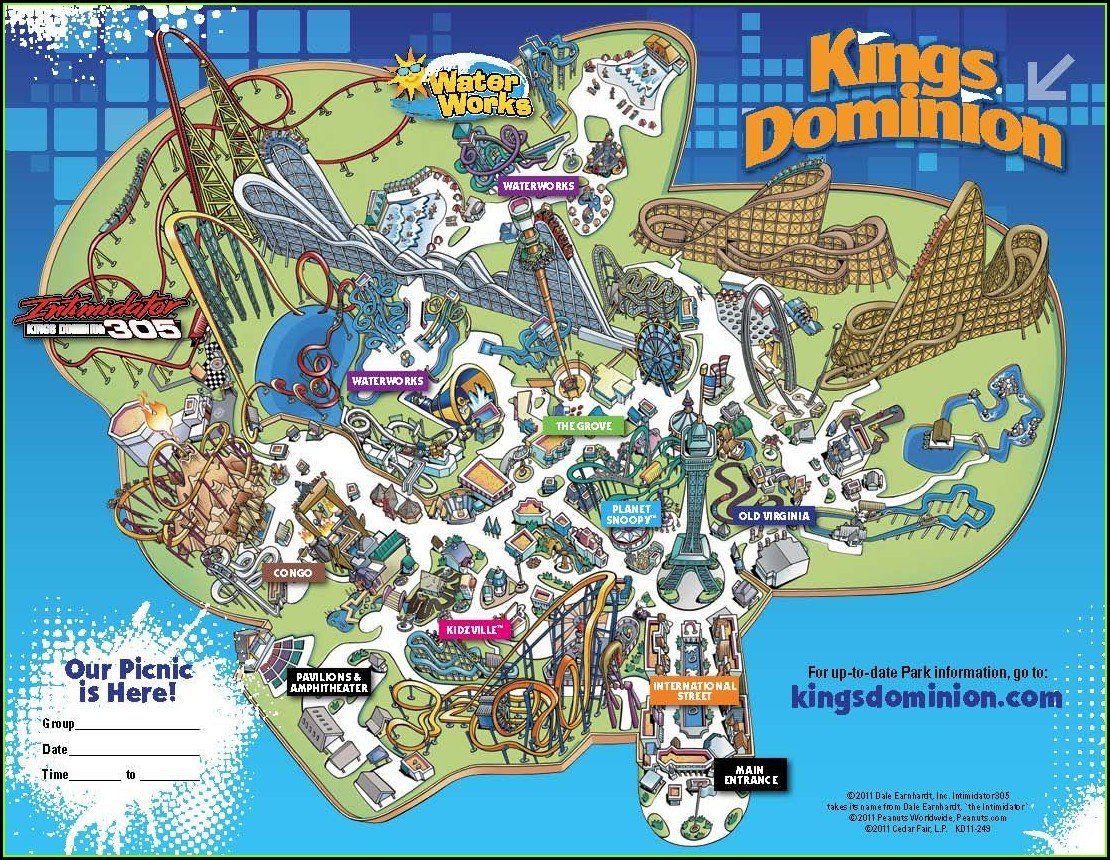 Kings Dominion Park Map 2019