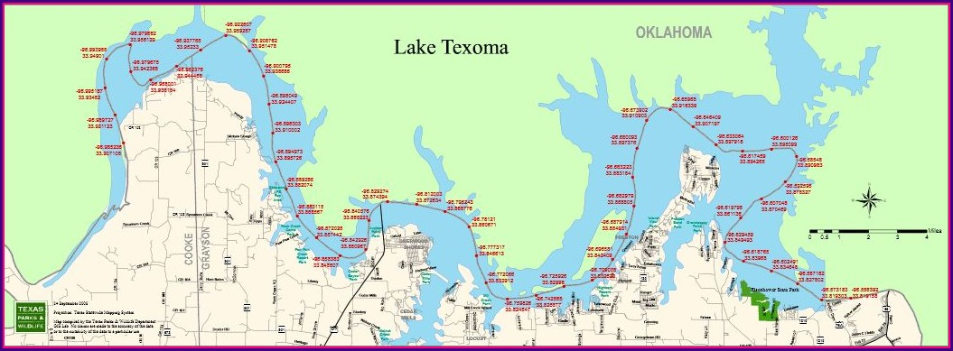 Lake Texoma Depth Map