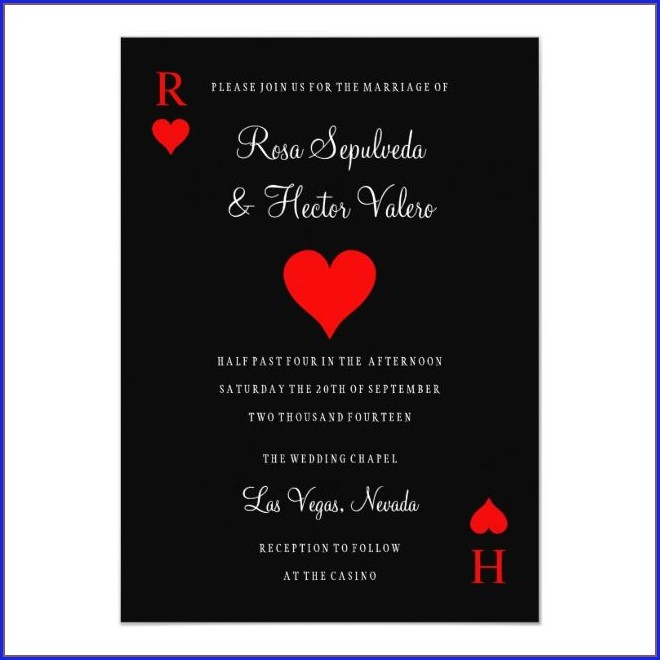 Las Vegas Playing Card Wedding Invitations