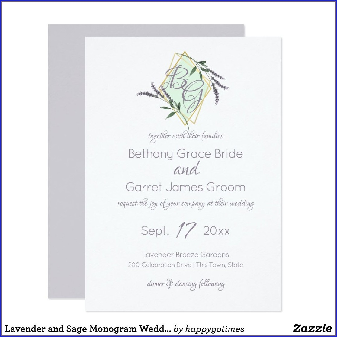 Lavender And Sage Wedding Invitations