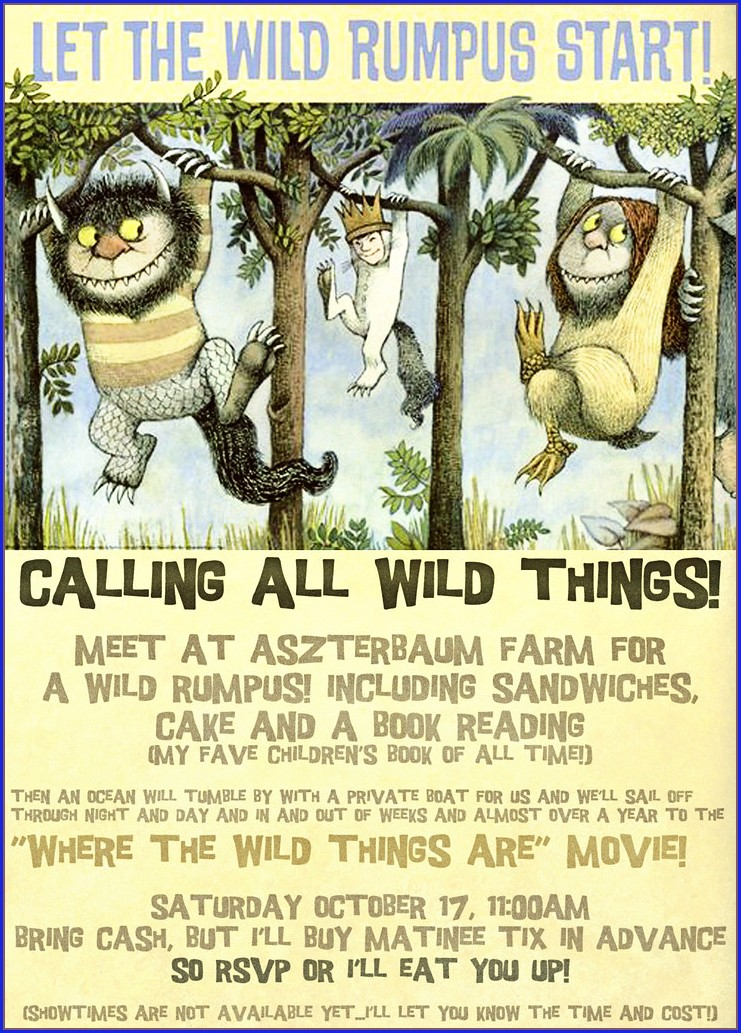Let The Wild Rumpus Start Invitation