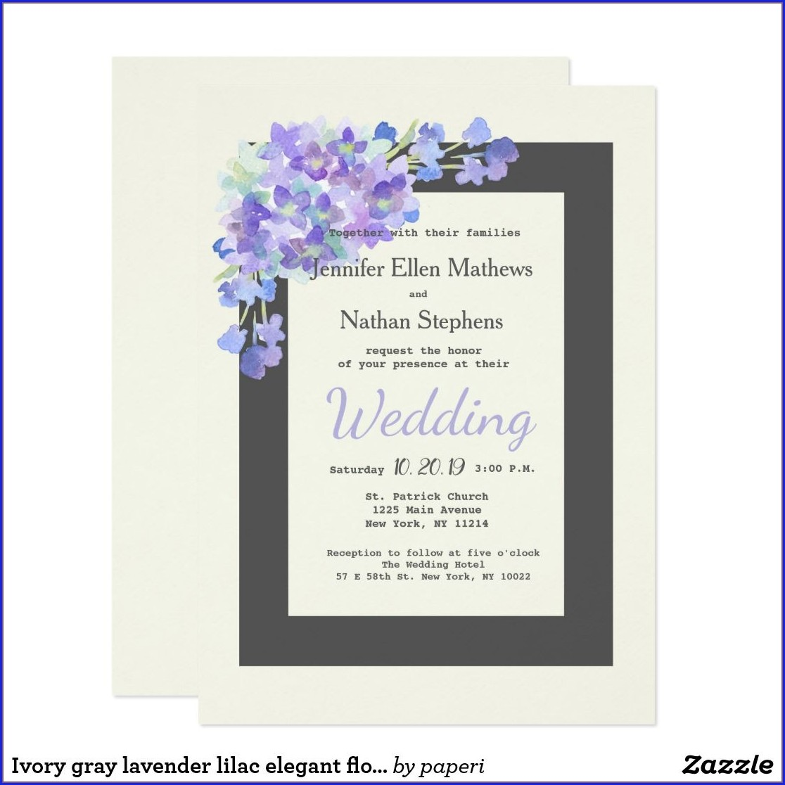 Lilac Gray Wedding Invitations