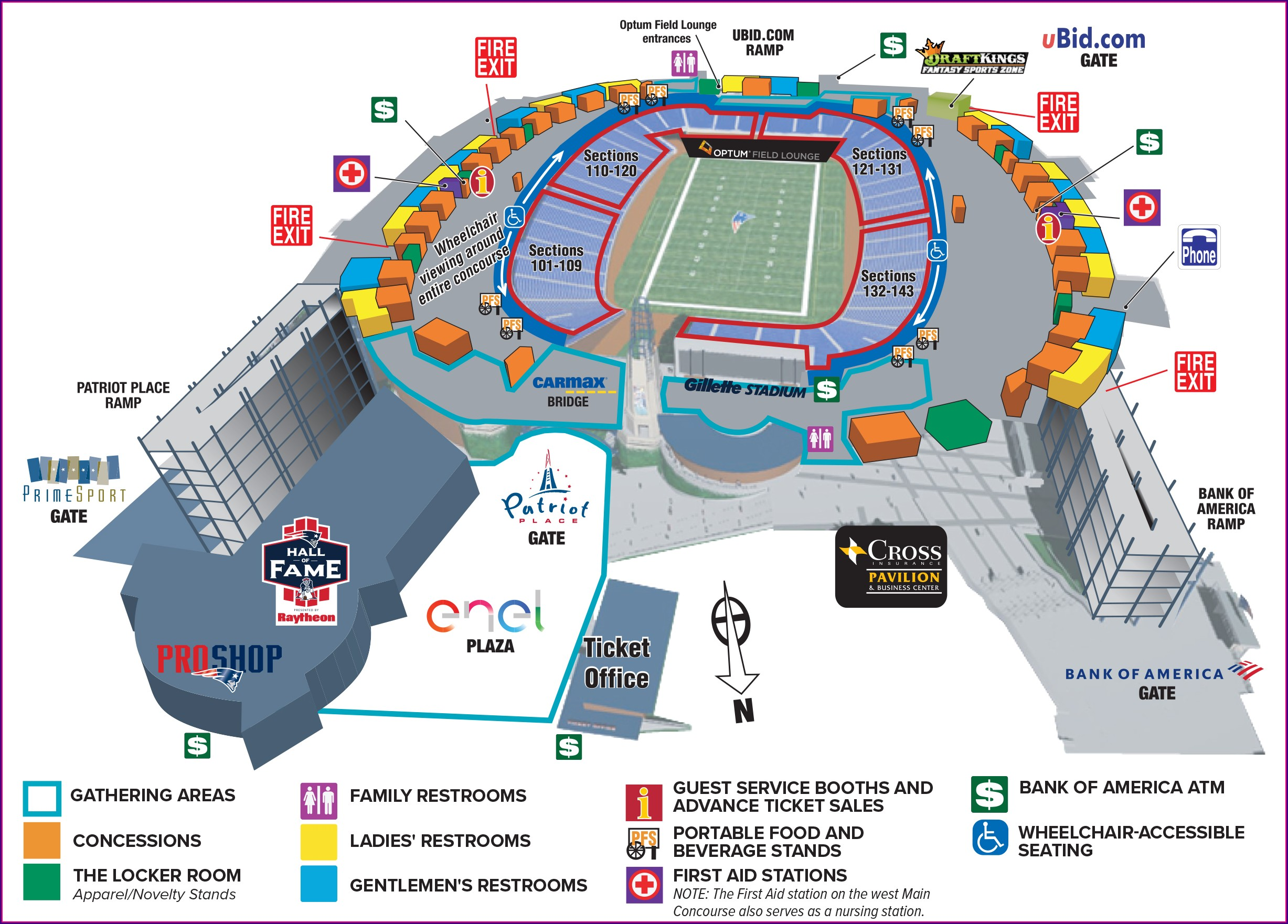 Map Of Gillette Stadium Area