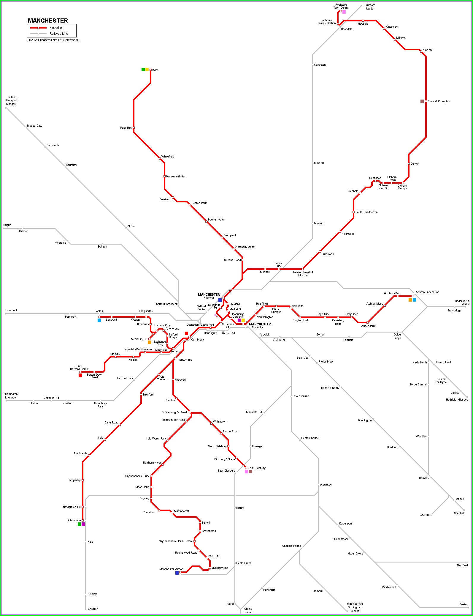 Map Of Manchester Metrolink Stations