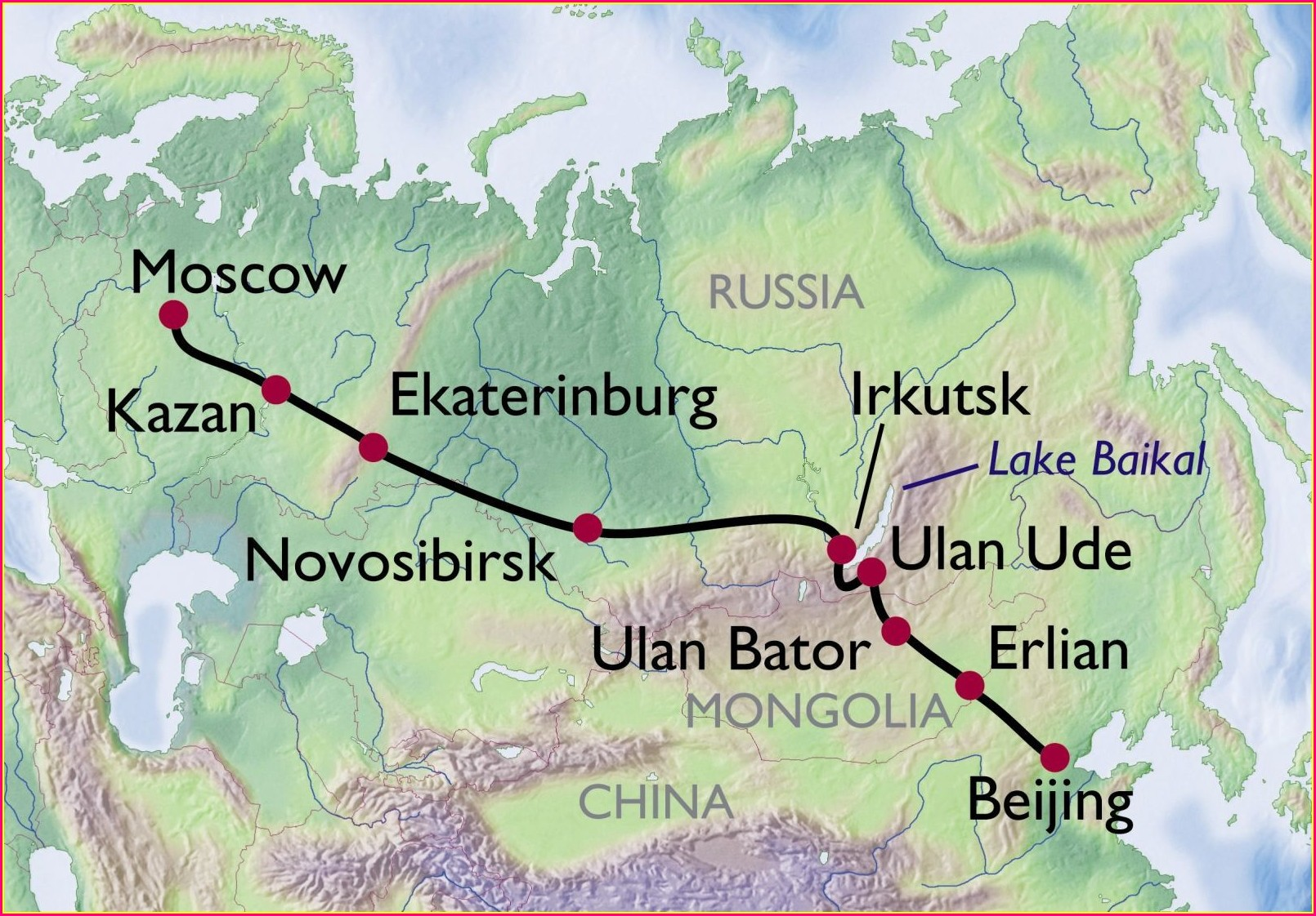 Map Of Russia Trans Siberian Railway