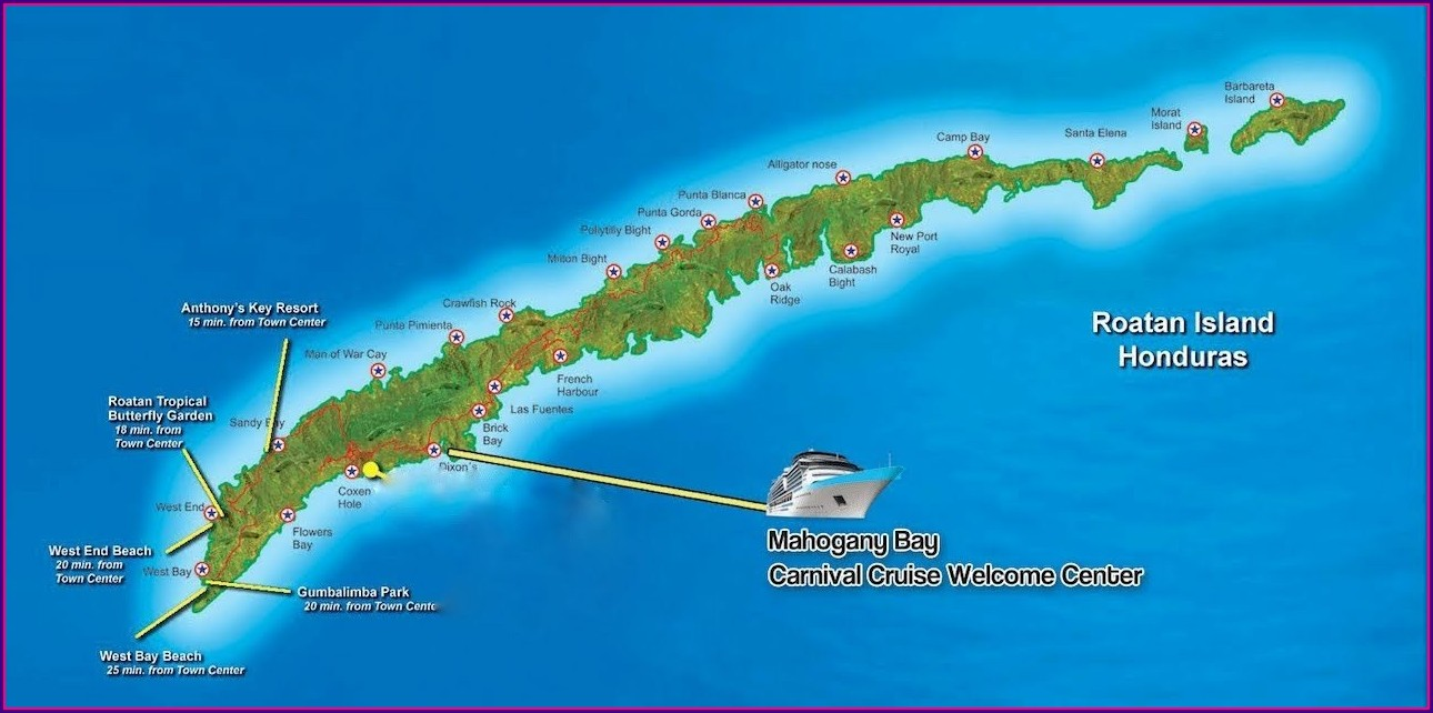 Map Roatan Bay Islands Honduras