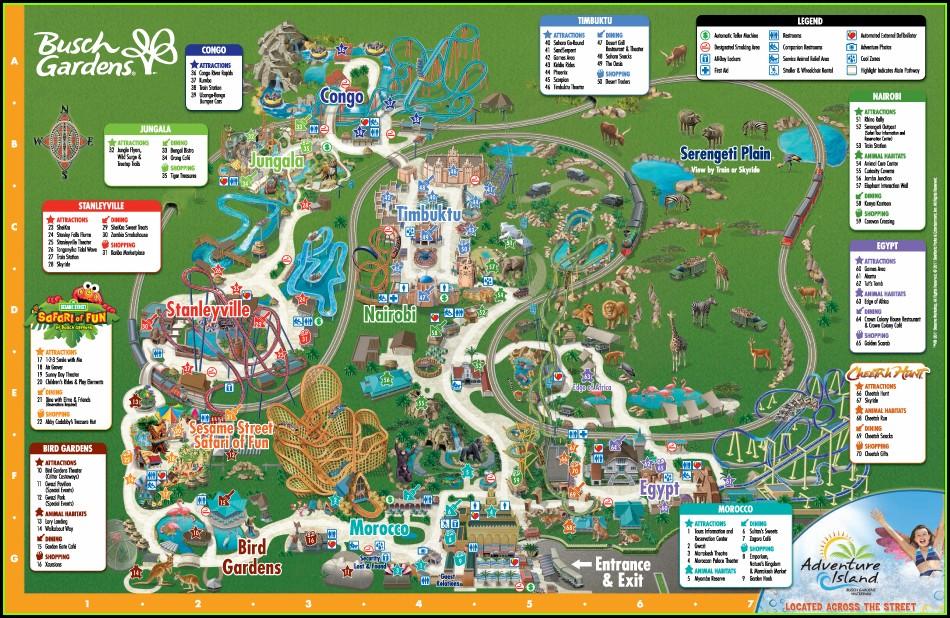 Mapa Busch Gardens Tampa