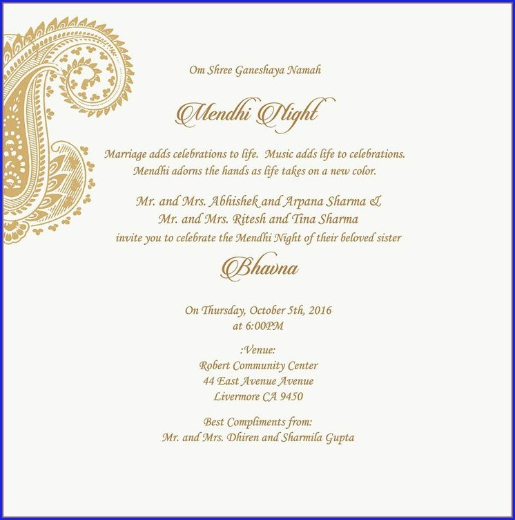 Mehndi Ceremony Invitation Wordings