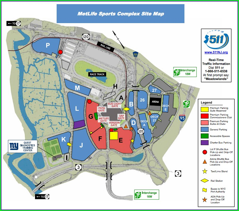Metlife Stadium Parking Map Giants