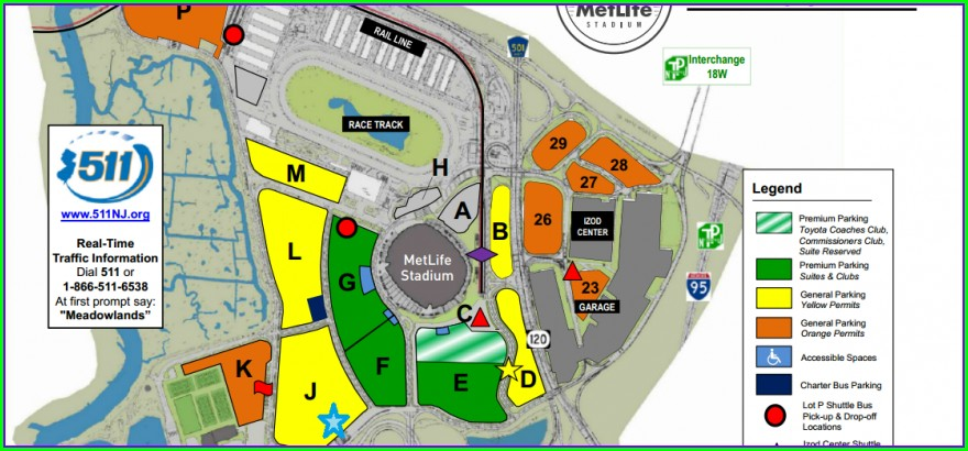 Metlife Stadium Parking Map Jets