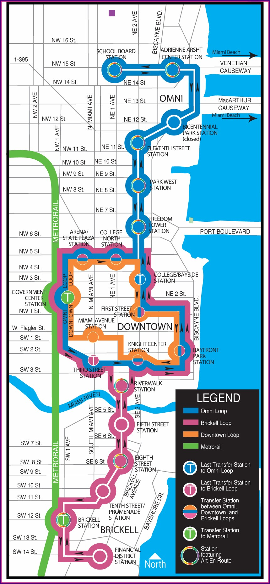 Metromover Miami Route Map