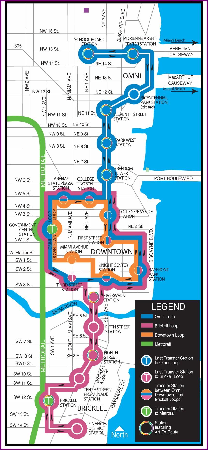 Metromover Miami Route Map