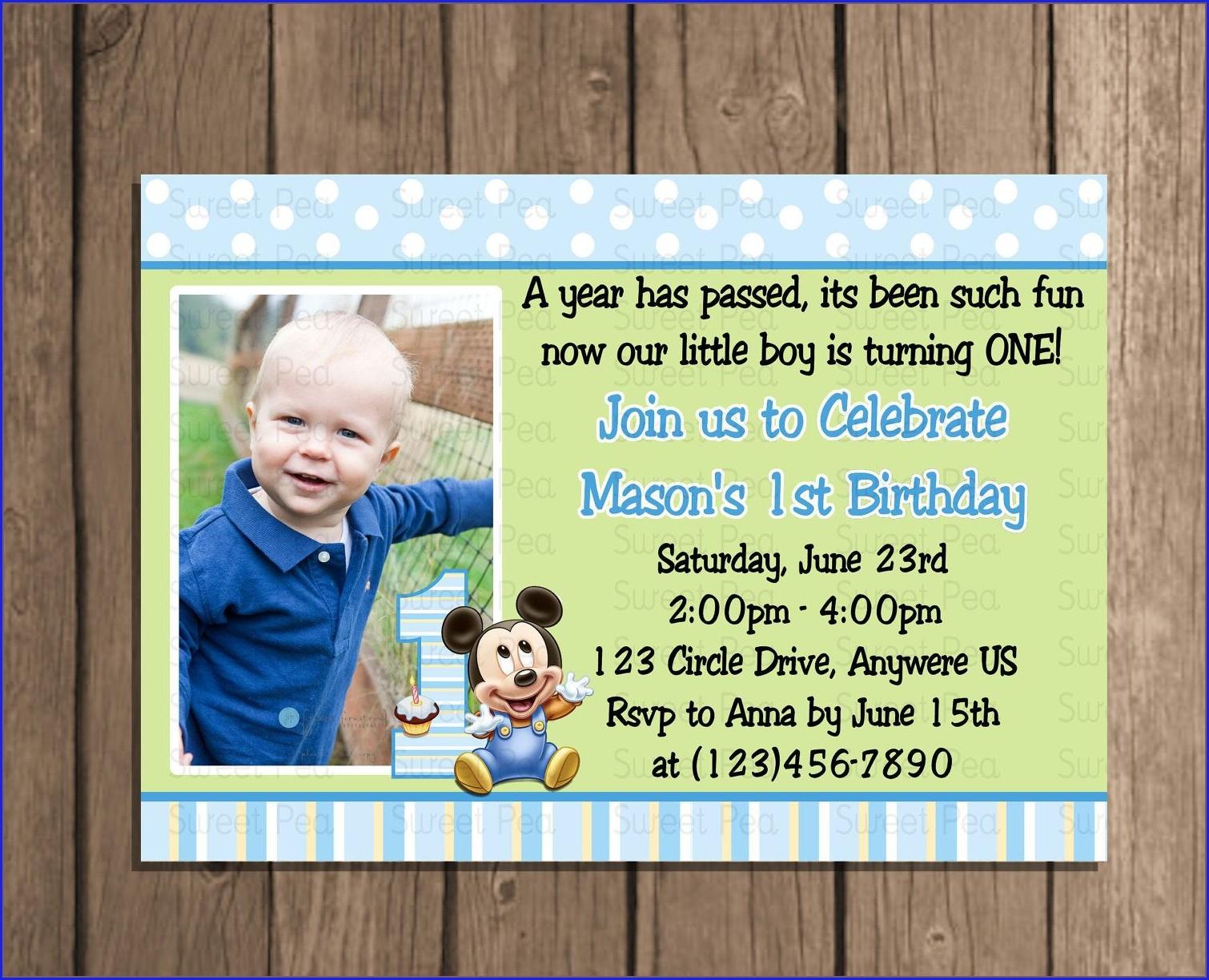 Mickey Mouse Baby Boy 1st Birthday Invitation Card