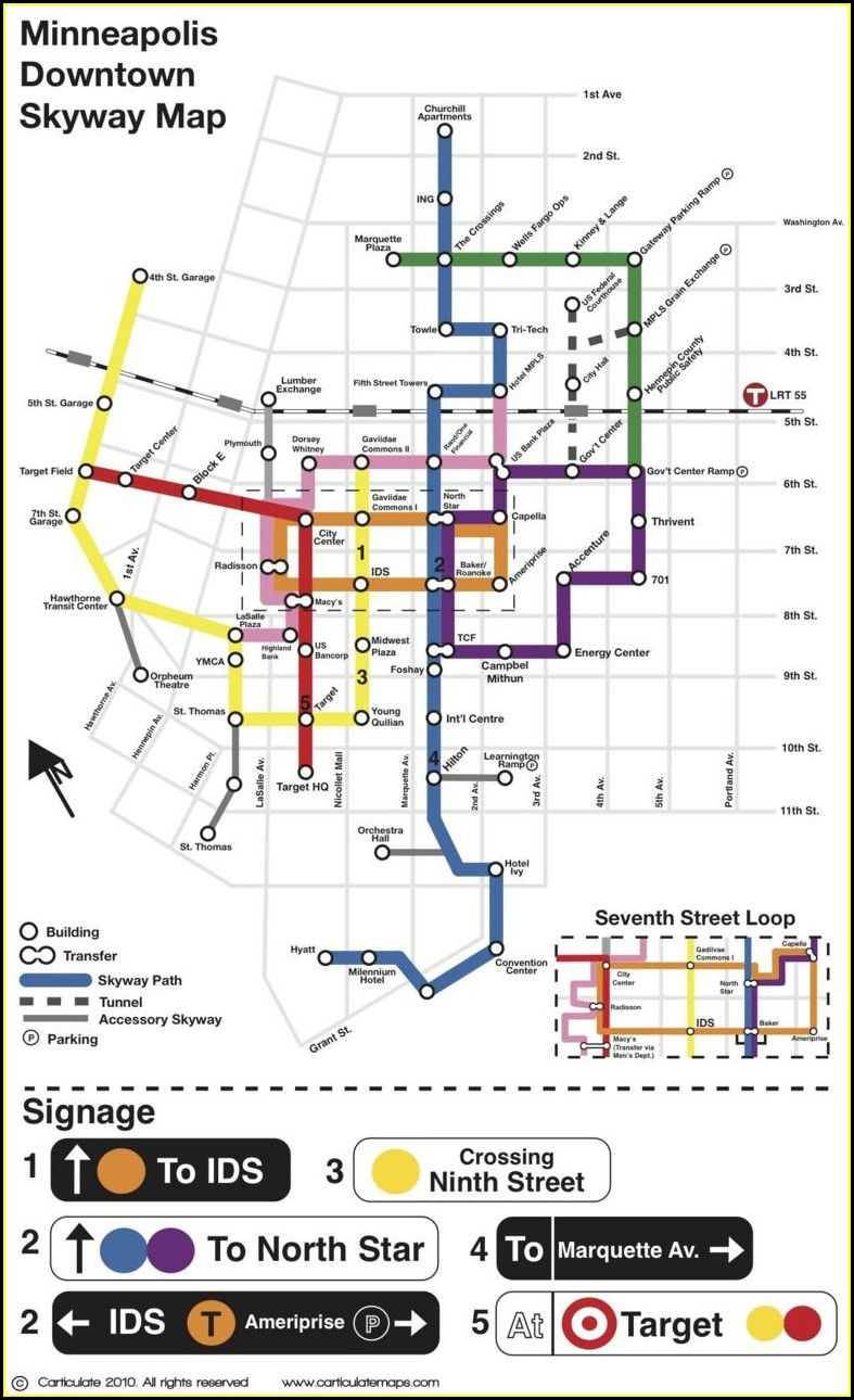 Minneapolis Skyway Map Restaurants