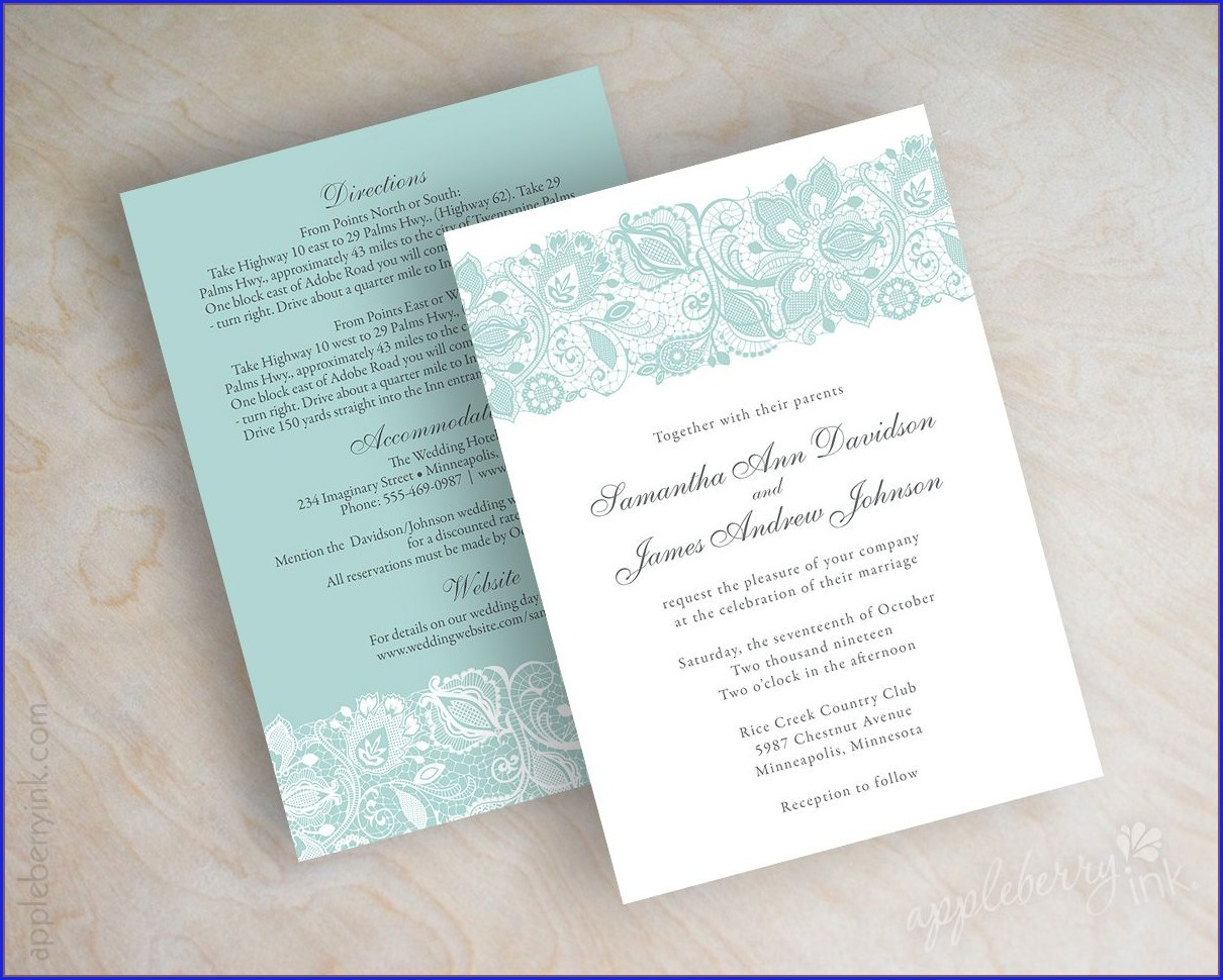 Mint Green And Gray Wedding Invitations