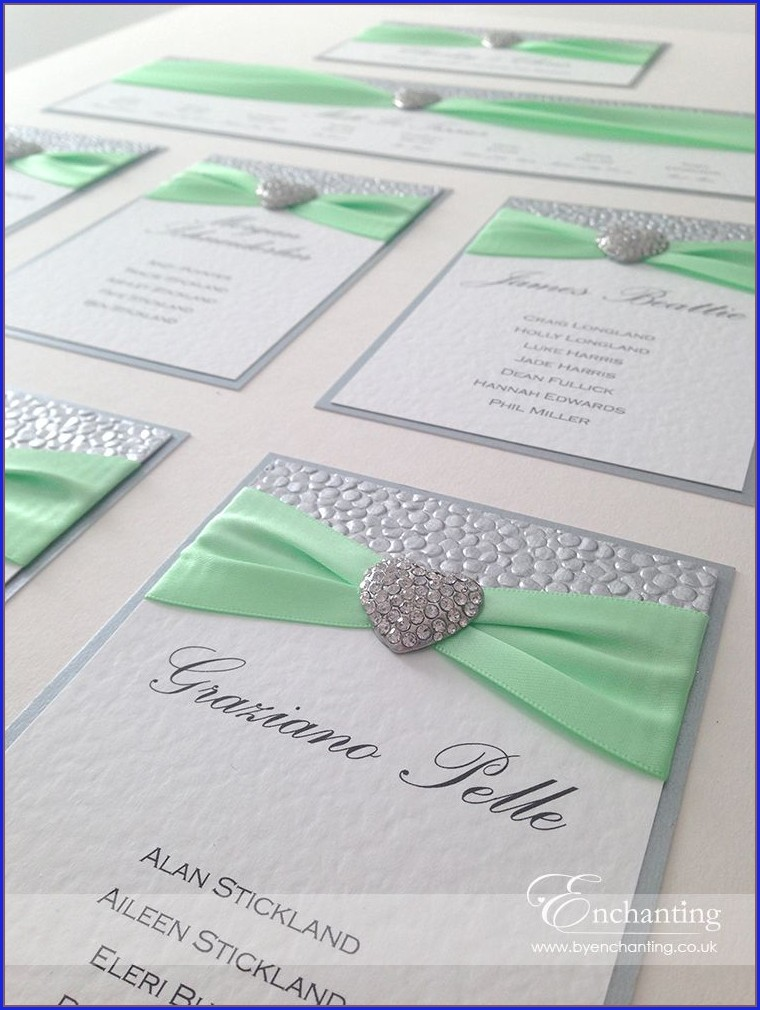 Mint Green And Silver Wedding Invitations
