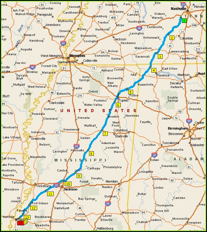 Motorcycle Natchez Trace Parkway Map