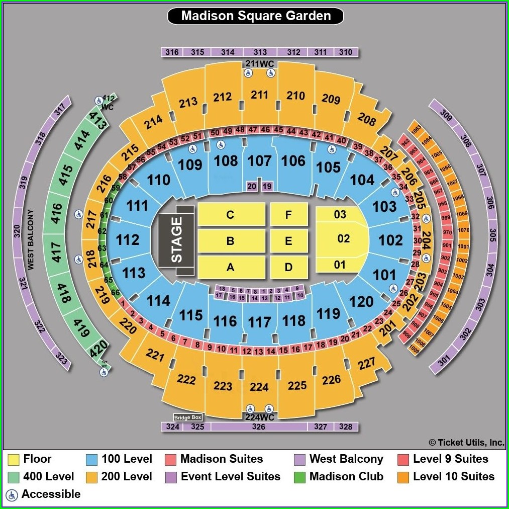 Msg Seating Map Concert
