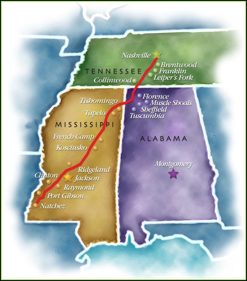Natchez Trace Parkway Map Tennessee