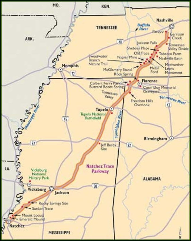 Natchez Trace Parkway Map With Mile Markers