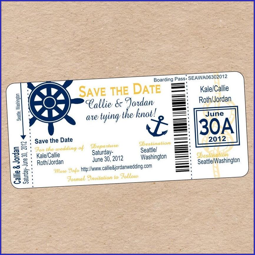 Nautical Boarding Pass Invitation