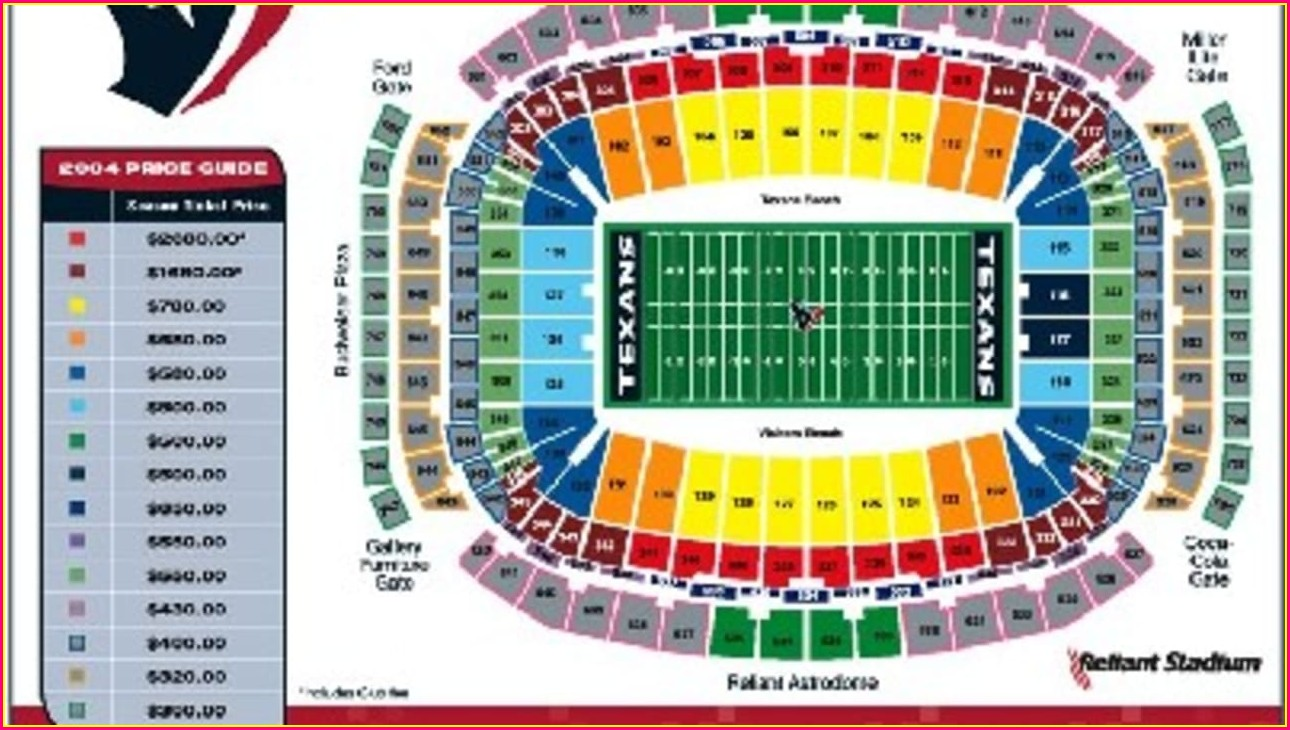 Nrg Stadium Seat Map Texans