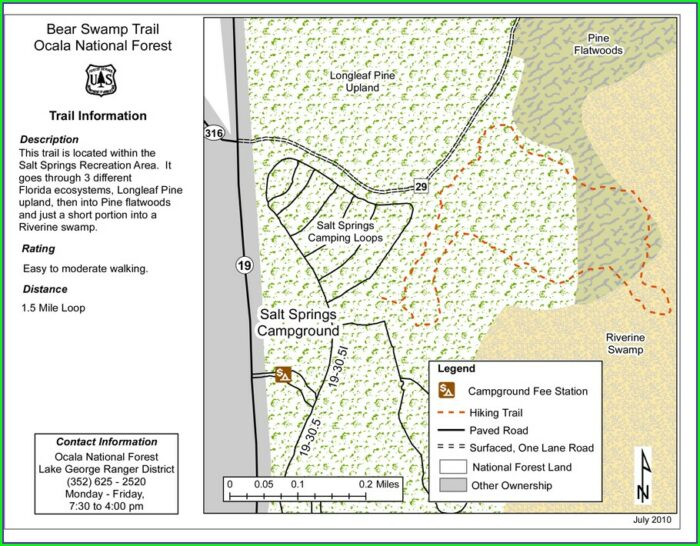 Ocala National Forest Hiking Trail Map