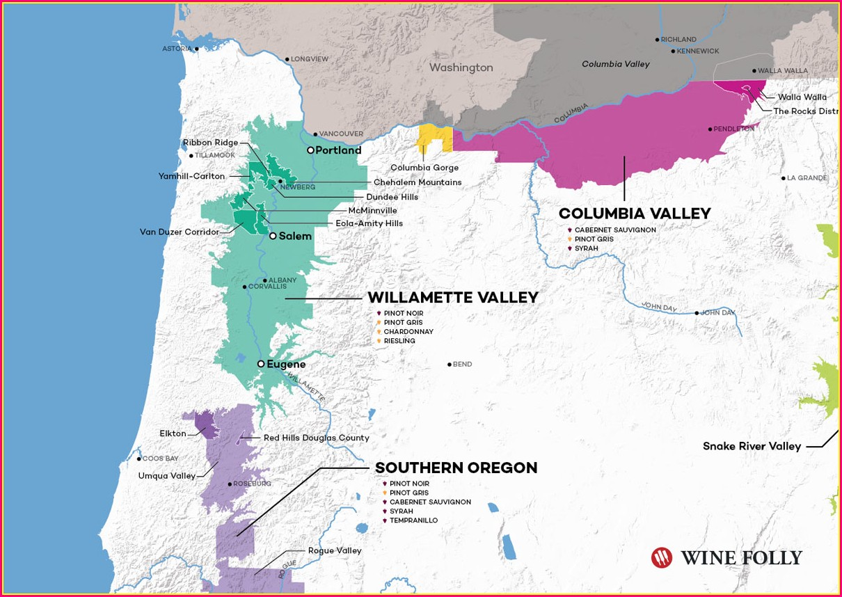 Oregon Coast Wineries Map