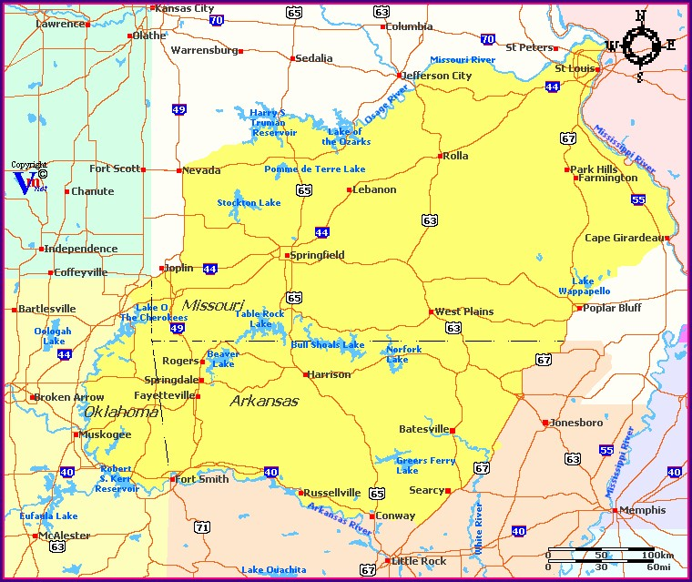 Ozark Mountains Map Of Region
