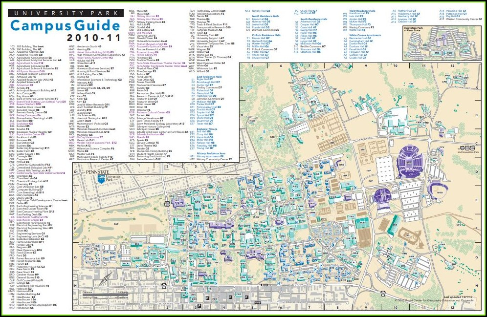 Penn State University Campus Map Pdf