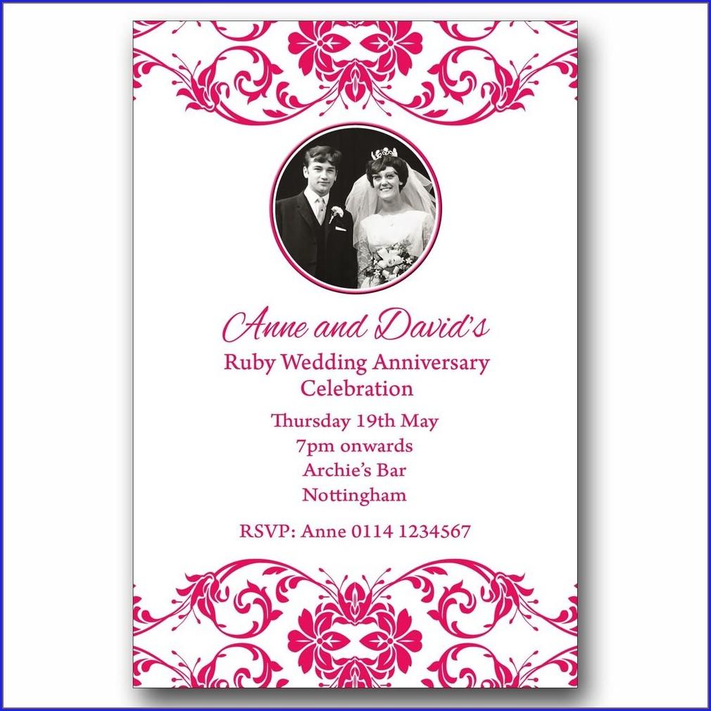 Personalised 40th Wedding Anniversary Invitations