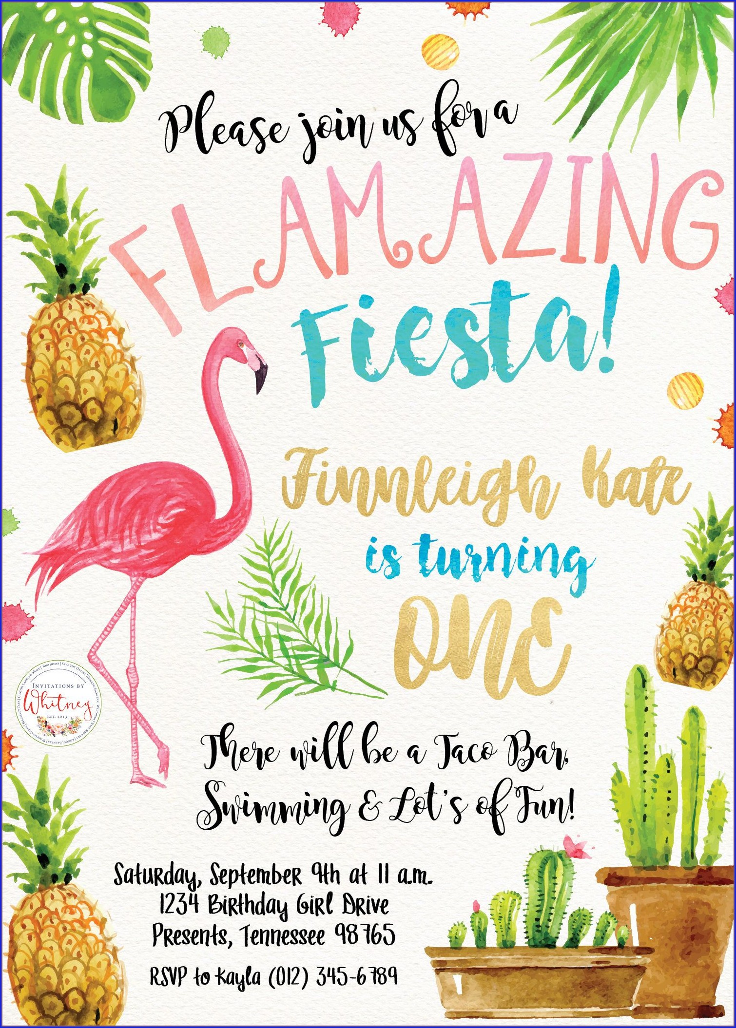 Pineapple And Flamingo Invitations