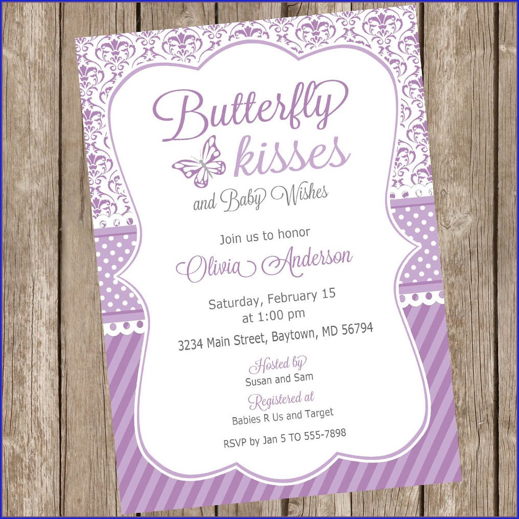 Pink And Purple Baby Shower Invitations