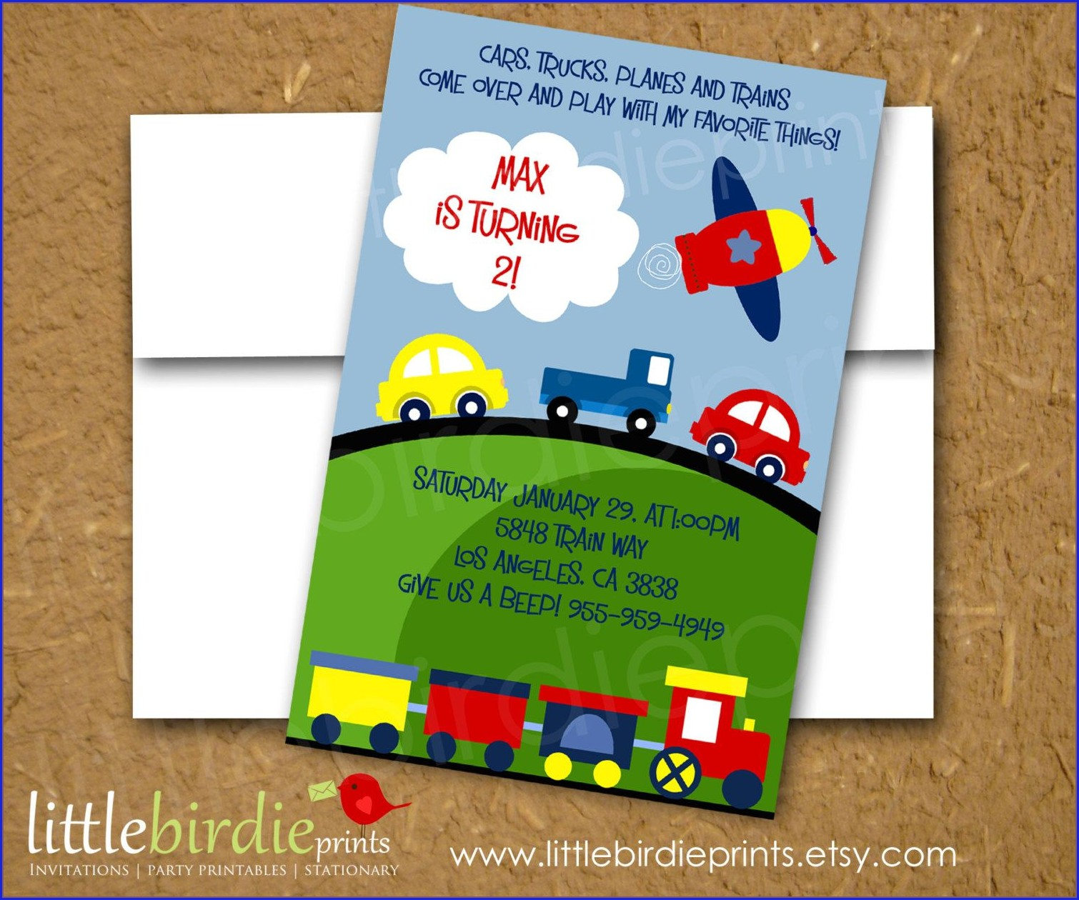 Planes Trains And Automobiles Invitation For Birthday