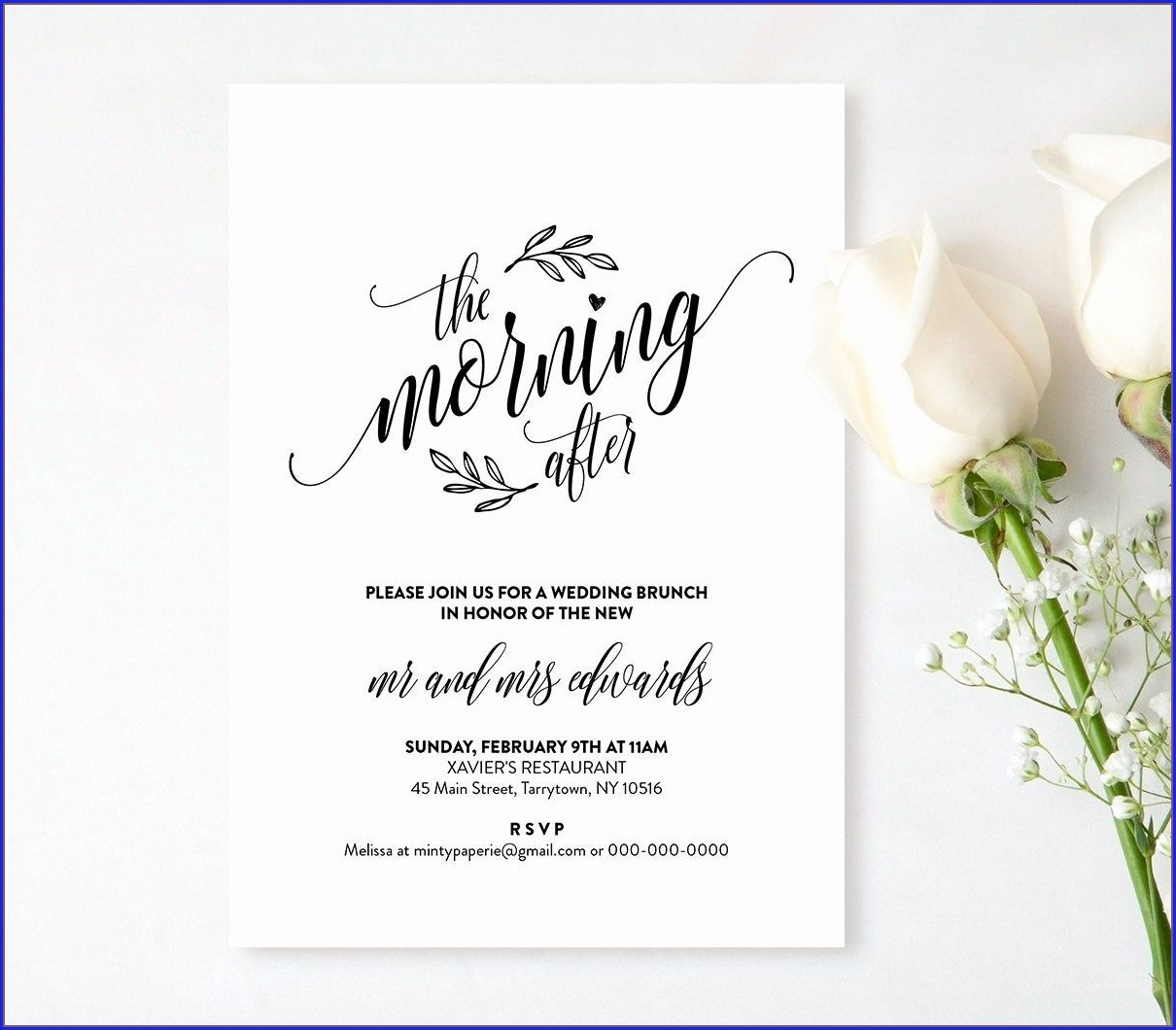 Post Wedding Brunch Invitation Template