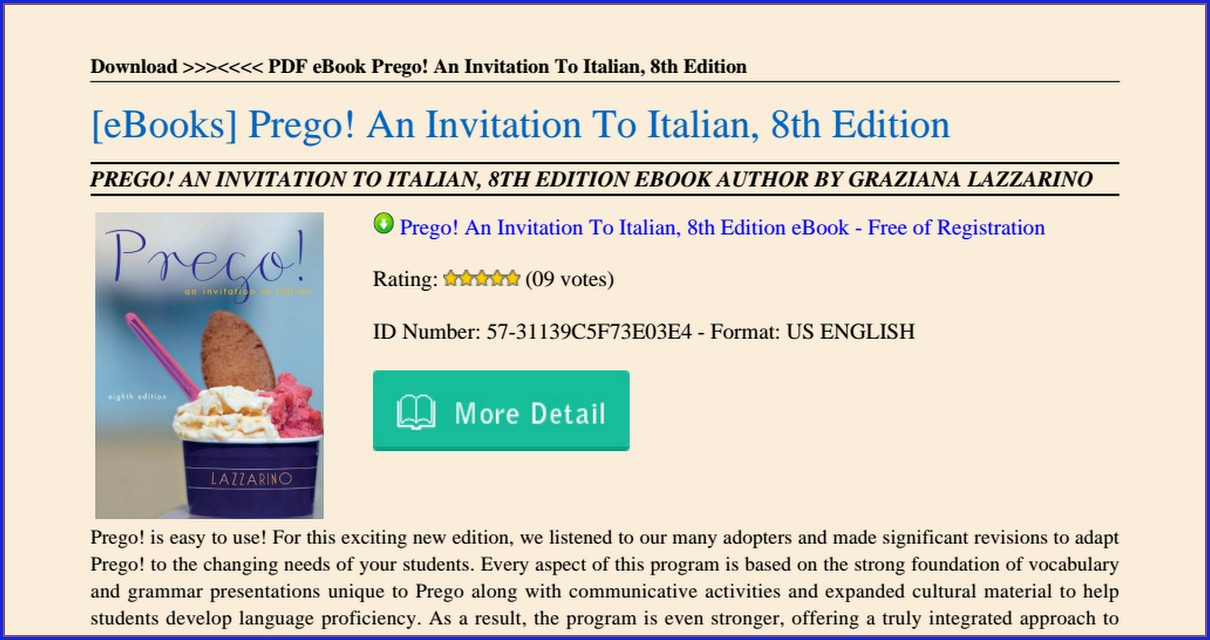 Prego An Invitation To Italian 8th Edition Pdf