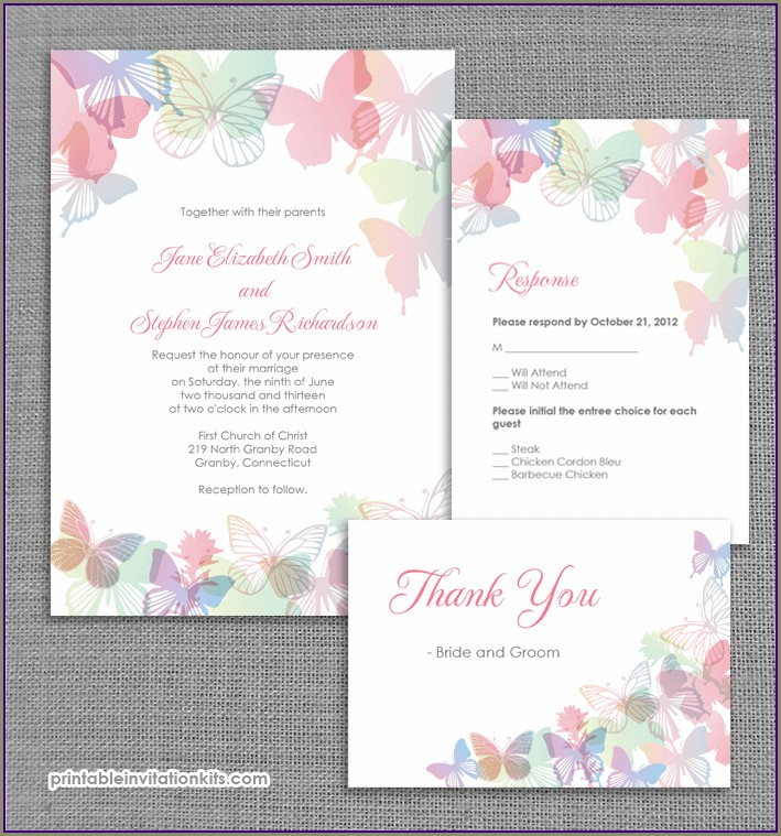Printable Blank Butterfly Invitation Template