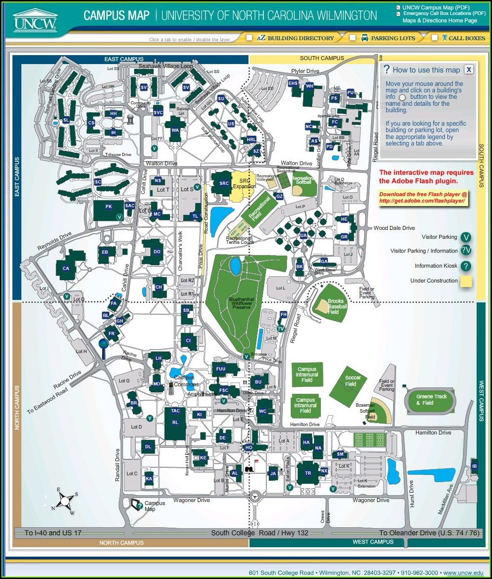 Printable Uncw Campus Map