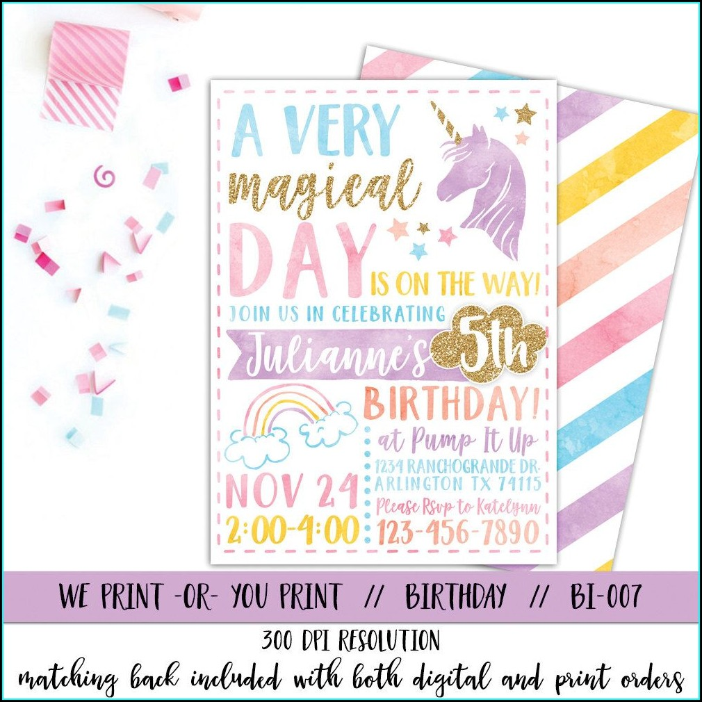 Printable Unicorn Invitation Wording